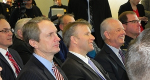 Erie County Clerk Chris Jacobs (center) with Assemblyman Sean Ryan (D-West Buffalo), at an event held by Senator Charles Schumer and the Peace Bridge Authority announcing the launch of a long planned cargo preclearance program that has been roundly criticized by environmentalists and planners.