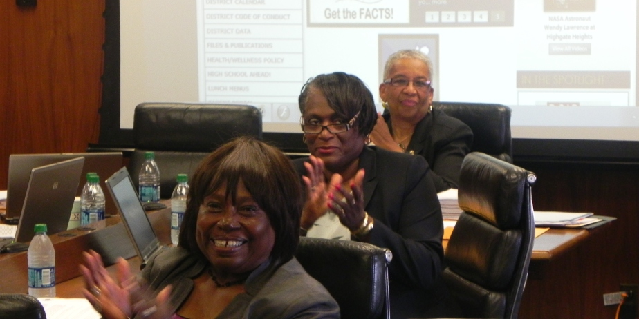 Board members Barbara Nevergold (back), Sharon Belton Cottman (center), and Florence Johnson (front).