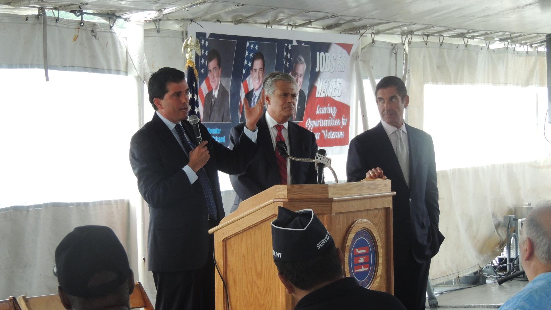 Mark Grisanti (R-Buffalo) with Senators Dean Skelos (R-Nassau) and Jeff Klein (D-Bronx)