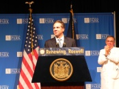 New York Governor Andrew Cuomo with Dr. Donald Trump, the CEO of Roswell Park Cancer Institute, in the Hohn Auditorium on July 1, 2014.