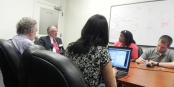 Superintendent Donald Ogilvie fielding questions from Michael Desmond of WBFO, Sandra Tan of the Buffalo News, and Kendra Eaglin of WKBW, shortly after his appointment.