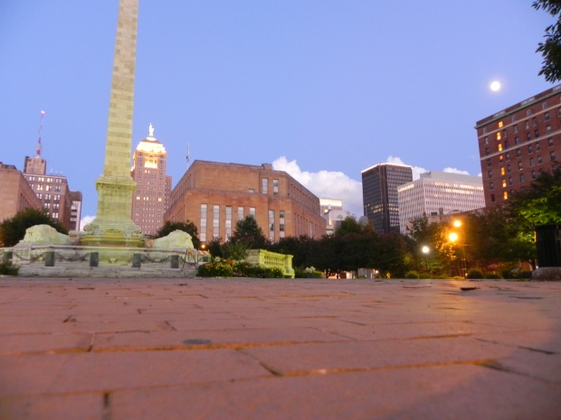 Niagara Square at 9:00 pm on Wednesday July 9, 2015.