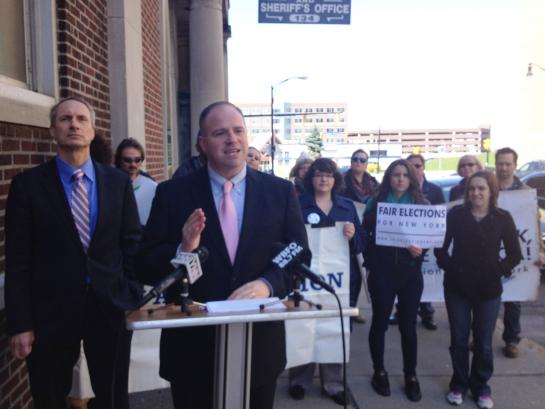 Senator Tim Kennedy with Assemblyman Sean Ryan and supporters outside of the Erie County Board of Elections.