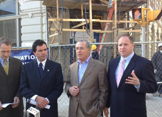 Developer Rocco Termini with State Senators Mark Grisanti (left) and Tim Kennedy (right) outside the Lafayette Hotel.