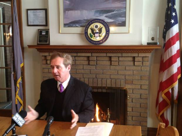 "Congressman Brian Higgins has been criticsized for his shameless use of the Congressional seal and portiable podiums for, what critics call, ""relentless self promotion."""
