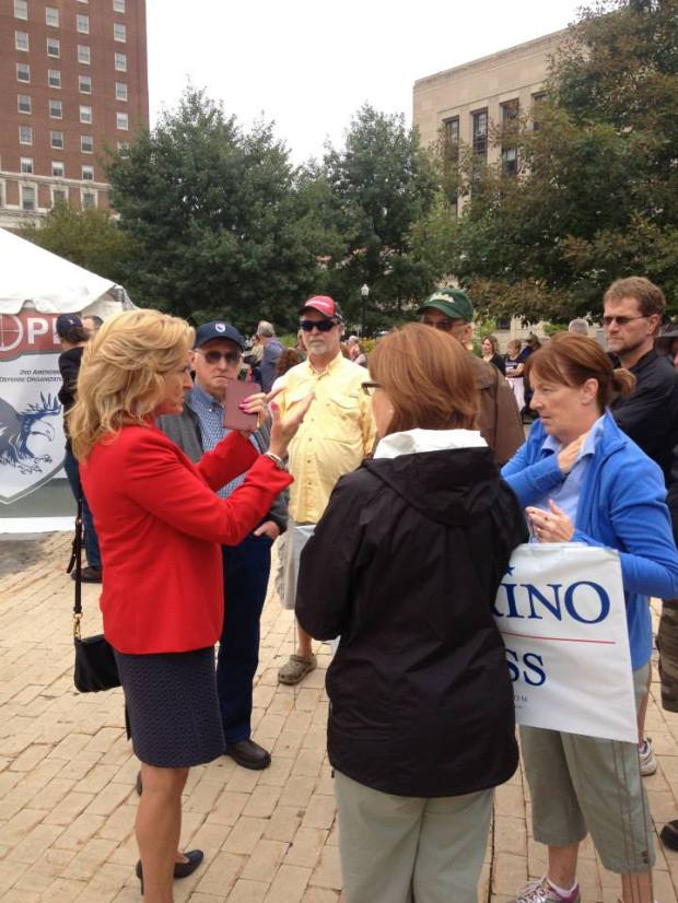Kathy Weppner speaking with supporters in Niagara Square earlier this year.
