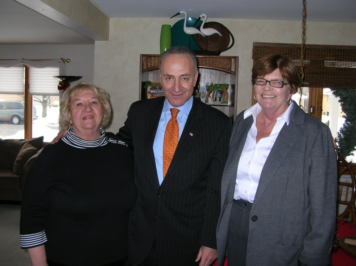 Supervisor Mary Holtz (right) with Senator Chuck Schumer (center).