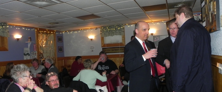 James Bargnesi, candidate for judge, speaking with Eric Weyant, a prominent Democrat.