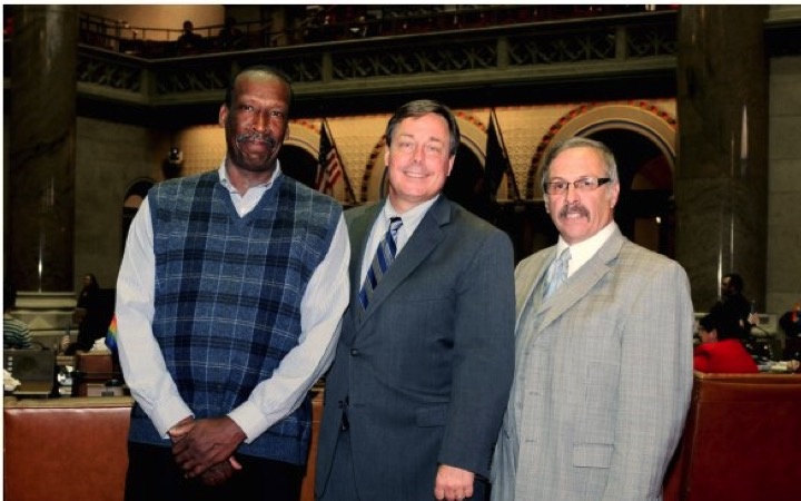 Housing Commissioner Joe Mascia (right) with high profile community activist Terry Robinson (left) and Sam Hoyt (center), an official in the Cuomo Administration.