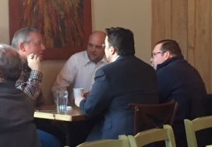 Michael Caputo (left) speaking with County Comptroller Stefan Mychajliw. They are accompanied by two of Mychajliw's staffers -- both prominent Republican operatives, Brian Fume (right) and Scott Krull (center).