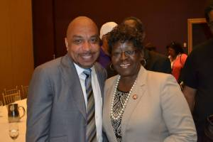 Council President Darius Pridgen with Assemblywoman Crystal Peoples-Stokes.