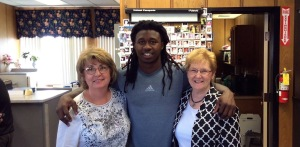 Town Clerk Alice Magierski with the Buffalo Bills' Sammy Watkins.