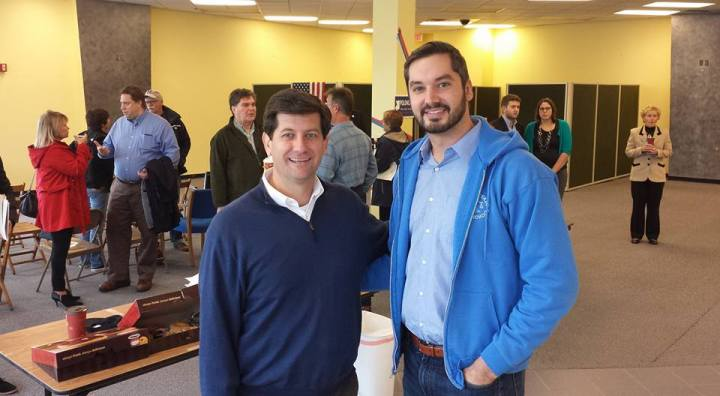 Freshman county executive Mark Poloncarz with county legislature candidate Todd Potter, who is challenging Kevin Hardwick.