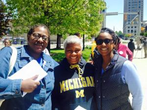 Left to right: anti-Racism organizer Siobhan DeJesus, wrongfully terminated Buffalo Police Officer Cariol Holloman-Horne, and Katrinna Martin-Bordeaux.