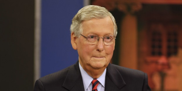 """LEXINGTON, KY - OCTOBER 13:  Minority Leader U.S. Sen. Mitch McConnell (R) prepares for his debate with Kentucky Secretary of State Alison Lundergan Grimes (D) on """"Kentucky Tonight"""" at the KET Network Center on October 13, 2014 in Lexington, Kentucky. Voters go to the polls on November 4, 2014. (Photo by Pablo Alcala-Pool/Getty Images)"""