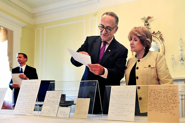"""Washington, DC - July, 28: Senator Charles Schumer(D-NY), center, and Rep. Louise Slaughter(D-NY), inspect the documents as the National Archives unveils old letters and documents from the """"Grace Tulley Archives"""" of correspondence from FDR and family that have been in private hands for decades and now will reside in the FDR Presidential library on July, 28, 2010 in Washington, DC. At left is David Ferriero, 10th Archivist of the United States. (Photo by Bill O'Leary/The Washington Post)  StaffPhoto imported to Merlin on  Wed Jul 28 13:39:02 2010"""